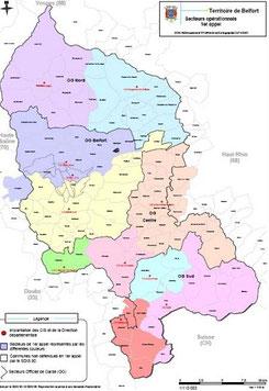 Carte des secteurs opérationnels - SDIS 90