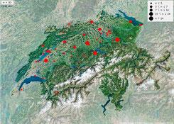 Beobachtungen von Schwanzmeisen der Unterart A. c. caudatus in der Schweiz seit September 2015 [Quelle: ornitho.ch]