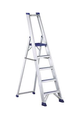 escalera tijera peldaño ancho, portaherramientas, aluminio