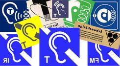 Collage von Ohr-Piktogrammen mit rechten Ohren