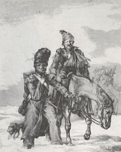 Rückkehrende franz. Soldaten 1812.