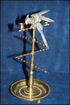 baguier parroquet bronze doré