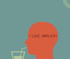 """Grafik eines roten Profilkopfes mit der Aufschrift """"I love Simplicity"""""""