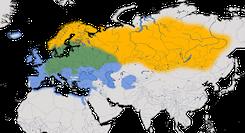 Karte zur Verbreitung der Wacholderdrossel (Turdus pilaris)