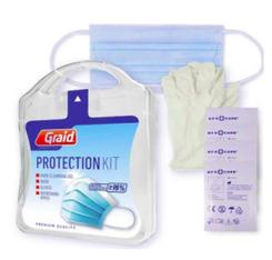 Atemschutzmaske, Handreinigungsgel, Einweghandschuhe, Reinigungstuch