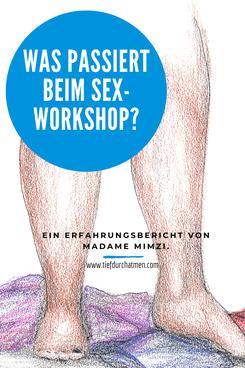 © Madame Mimzi gezeichnete nackte Beine und am Boden liegende Wäsche. Davor steht: Was passiert Beim Sex-Workshop. Ein Erfahrungsbericht von Madame Mimzi.