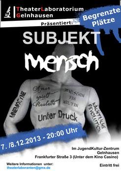"""Flyer zu """"Subjekt Mensch"""" Vorderseite"""