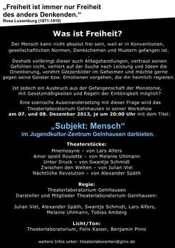 "Flyer zu ""Subjekt Mensch"" Rückseite"
