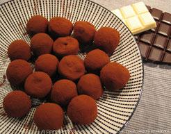Truffes chocolat noir, whisky, café