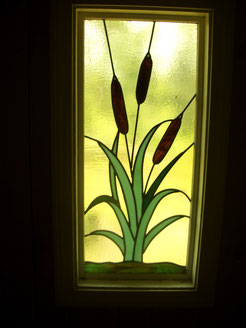 Stained Glass Cattail Window