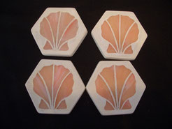 Seashell Stained Glass Mosaic Coasters