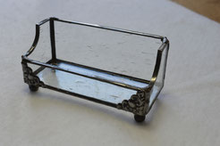 Clear Seedy Stained Glass Business Card Holder