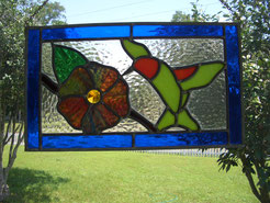 Stained Glass Hummingbird Panel