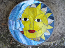 Sun Moon Stained Glass Stepping Stone