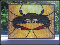 Stained Glass Blue Crab Panel
