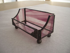 Amethyst Purple Baroque Stained Glass Business Card Holder