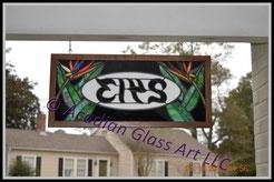 Art Glass Custom Address Sign - Back View