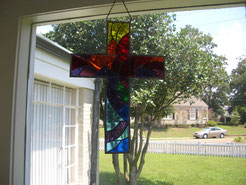 Stained Glass Religious Cross Panel