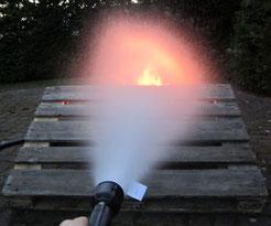 Brandbekämpfung mit einem Wasserlöscher im Rahmen der Brandschutzausbildung von Arne Wittorf