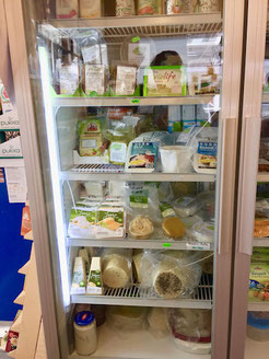 vegan cheeses at vegan store rome italy
