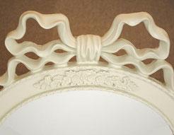 リボンミラー 白いリボンミラー 壁掛け鏡 ウォールミラー アンケート調 姫家具