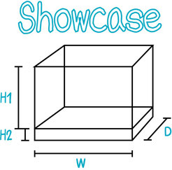 Acrylic showcase customisation diagram