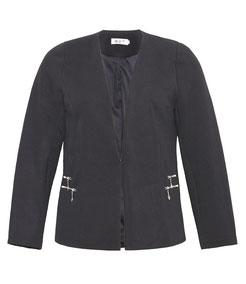 eleganter Plus Size Blazer in großen Größen mit Einfassungen in Lederimitat, schwarz