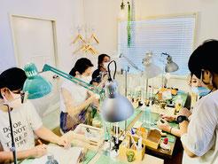 東京のレザークラフト(革)教室ヨコハマセリエ アトリエの様子