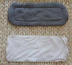 exemples d'inserts pour couches lavables : charbon de bambou et bambou