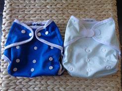 2 culottes de protection en PUL pour couches lavables: 1 à pressions et 1 à velcros/scratchs