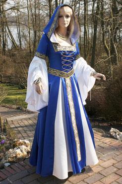 Blau-Weiß, edle Farben,Mittelalter Brautkleid maßgefertigt.