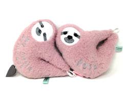 Baby Spieluhr Faultier mit Namen personalisiert in kuscheligen Teddy Pluesch