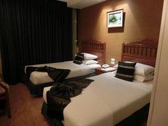 さて、バンコクへ移動!古いホテルですが、この部屋を独り占め♪ただし、チェンマイに比べると、治安は悪いので、ホテルの中でも貴重品は肌身離さず・・・・