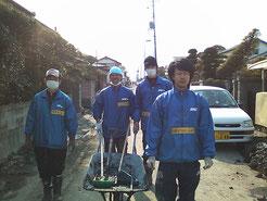 東日本大震災時、近隣市町村で災害ボランティア活動に取り組んだ町内在住の高校生・大学生