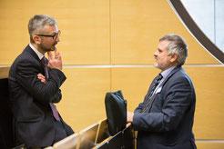 Dr. Matthias Heuberger (links) diskutiert auf der Smart Home & Smart Living in Hessen 2018 über digitale Geschäftsmodelle | Foto:  HTAI/THM