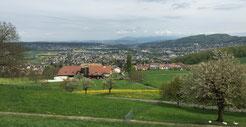 Blick über Pfeffingen nach Basel