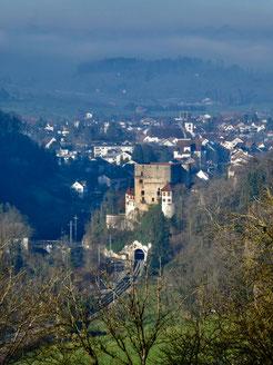 Blick über das Schloss Angenstein nach Aesch