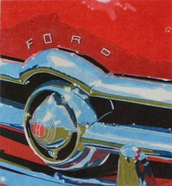 Dessin crayons de couleur gros plan calandre chromée ford custum 1949. Rouge