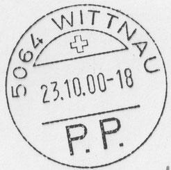 """23. Okt. 2000: PP-Stempel für vorfrankierte Massensendungen (""""port payé"""")"""