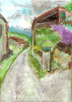 peinture et pastels d'un chemin