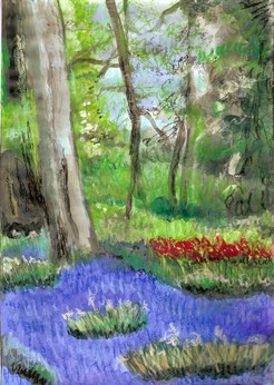 jardin printanier à la peinture à l'acrylique et pastels.