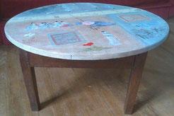 table basse avec plateau peint façon chinoiseries
