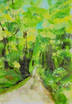 peinture et pastels d'un chemin verdoyant