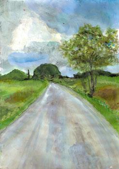 chemin pastels et acrylique