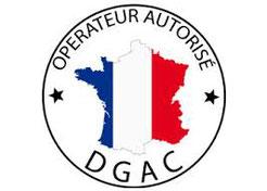 Novafly, créateur d'images aériennes, spécialisée en topographie aérienne, levés de terrains, modélisation 3 D, est agréée par la DGAC. Cette image représente donc le logo de la DGAC