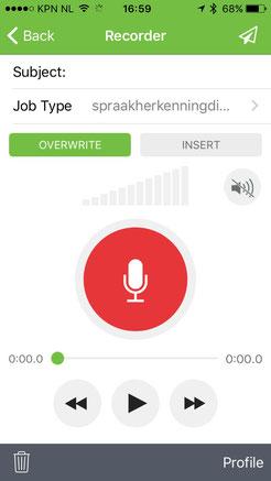 Winscribe app opname dictaten