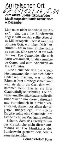 Leserbrief von Klemens Roloff im Bonner General-Anzeiger am 31.12.2016