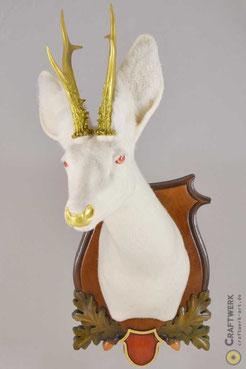 Weißes gefilztes Reh mit goldenem Geweih auf einem jagdlichen Trophäenbrett