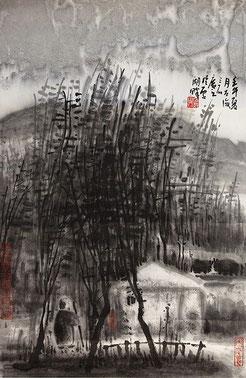 """Zeng Mi, """"Das Leben im Wald"""", Tusche auf Papier, 68 x 47 cm"""