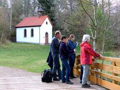 Am Warenbach beim Beobachten von Gebirgsstelzen
